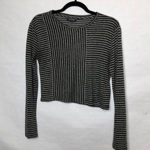 Topshop striped long sleeve crop top